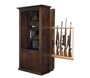 Large Hidden Gun Cabinet Bookcase With Doors Cherry