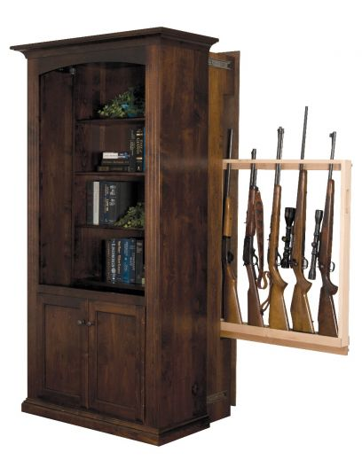 Large Hidden Gun Cabinet Bookcase With Doors Cherry Shown In