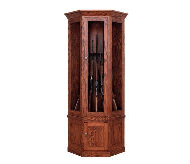 Small Corner Gun Cabinet Brown Maple Shown In Oak